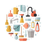 Cleaning flat multicolored vector circle background. Minimalistic design. Stock Photo