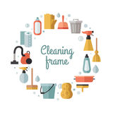 Cleaning flat multicolored vector circle frame. Minimalistic design. Stock Photos