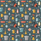Cleaning flat multicolored vector seamless pattern. Minimalistic design. Stock Photography