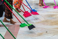 Cleaning the floor with mop Royalty Free Stock Photo