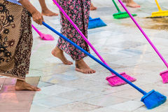 Cleaning the floor with mop Royalty Free Stock Image