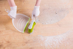 Cleaning the floor stock photo