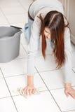 cleaning Flor kobiety potomstwa Zdjęcie Royalty Free