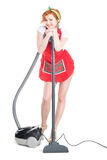 Cleaning is fun. Sexy young housewife cleaning the carpet. With vacuum cleaner Stock Photography