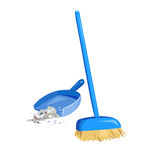 Cleaning garbage, broom and dustpan Stock Images