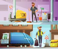 Cleaning Garbage Collecting Cartoon Banners Set. Professional cleaning and garbage collecting service at work 2 horizontal cartoon banners set abstract  vector Royalty Free Stock Image