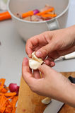 Cleaning garlic. A chef cleaning cloves garlic for cooking with vegetables Royalty Free Stock Photo