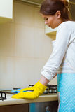 Cleaning a gas stove concept Stock Photos