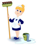 Cleaning girl. Isolated on white. Vector illustration Royalty Free Stock Image