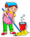 Cleaning girl. Cute girl washing the floor with a mop Royalty Free Stock Image