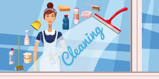 Cleaning girl banner horizontal, cartoon style Stock Images