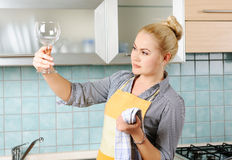 Cleaning glass Royalty Free Stock Images