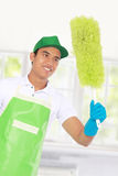 Cleaning glass using using Soft duster Royalty Free Stock Photo