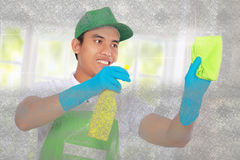 Cleaning glass using using Soft microfiber cloth Stock Images