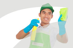 Cleaning glass window using using Soft microfiber cloth stock photos