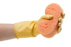 Cleaning glove and sponge Stock Image