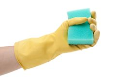 Cleaning glove and sponge Stock Images