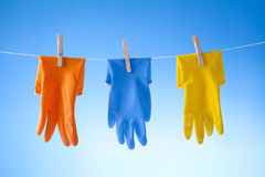 Cleaning Gloves And Cleaning Detergents Royalty Free Stock Images