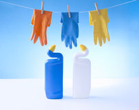 Cleaning gloves and cleaning detergents Stock Images