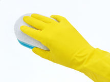 Cleaning with gloves Royalty Free Stock Photography