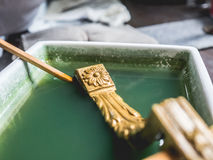 Cleaning gold workshop. Royalty Free Stock Photos