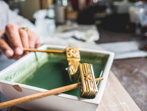 Cleaning gold workshop. Stock Image