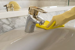 Cleaning gray sink Stock Image
