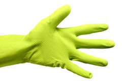 Cleaning Hand. Hand in a green cleaning/protection glove on white background Stock Image