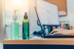 Free Cleaning Hand By Gel With Alcohol For Killing Corona Virus. WFH : Work From Home. Stay Home Stay Safe. Stock Images - 179931794