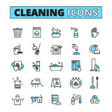 Cleaning Hand Drawn Icon Set Stock Photography