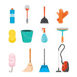 Cleaning, Home Appliances Icons Set. Housework Appliance Domestic Tools Computer Icon Cleaning Symbol Icon Set Spring Season Stock Image