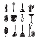 Cleaning, Home Appliances Icons Set, Monochrome. Housework Appliance Domestic Tools Computer Icon Cleaning Symbol Icon Set Spring Season Royalty Free Stock Photography