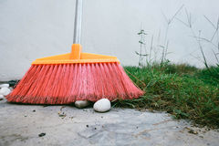 Cleaning home concept, red broom in home garden over green grass Royalty Free Stock Photo