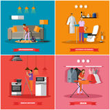 Cleaning and home service concept vector illustration. People clean house, ironing clothes, change light bulbs Stock Image