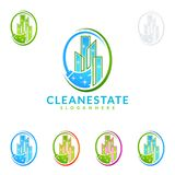 Cleaning Home Service vector Logo design, Eco Friendly with shiny broom and circle Concept. Cleaning Service vector Logo design Stock Photography