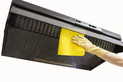 Cleaning hood with yellow cloth Stock Photography