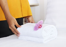 Cleaning in a hotel room Royalty Free Stock Images