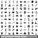 100 cleaning house icons set, simple style. 100 cleaning house icons set in simple style for any design vector illustration Stock Photography