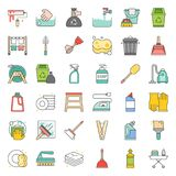Cleaning and house keeping service icon set. Filled outline icon Stock Photos