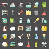 Cleaning and house keeping service icon set. Flat design Royalty Free Stock Image