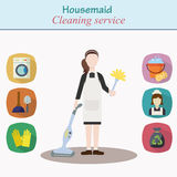 Cleaning house service - young women character Royalty Free Stock Photos