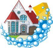 Cleaning house. Sponge with ballons cleaning house Stock Photos