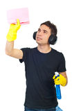 Cleaning house worker man Stock Image