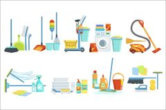 Cleaning Household Equipment Sets. Clean Up Special Objects And Chemicals Compositions Collection Of Realistic Objects stock illustration