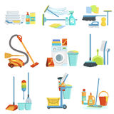 Cleaning Household Equipment Sets royalty free illustration