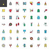 Cleaning and housekeeping filled outline icons set. Line vector symbol collection, linear colorful pictogram pack. Signs, logo illustration, Set includes icons Stock Photography