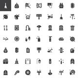 Cleaning and housekeeping vector icons set. Modern solid symbol collection, filled style pictogram pack. Signs, logo illustration. Set includes icons as Stock Photos