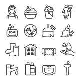 Cleaning , Housekeeping , wipe, washing icon set Stock Image