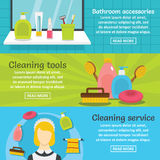 Cleaning hygiene banner horizontal set, flat style Stock Photos