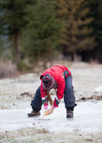 Cleaning  the ice from snow on rink Stock Photo